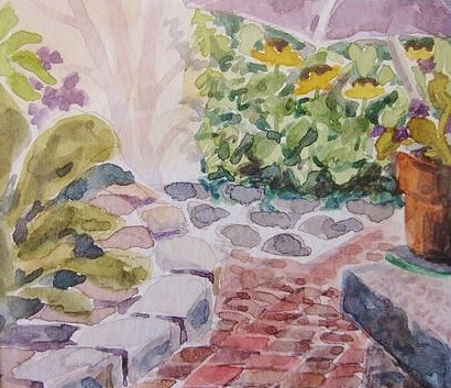"""Brick Path"" original fine art by Priscilla Bohlen"