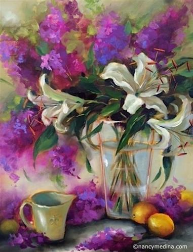 """Berries and Creme Lilies"" original fine art by Nancy Medina"