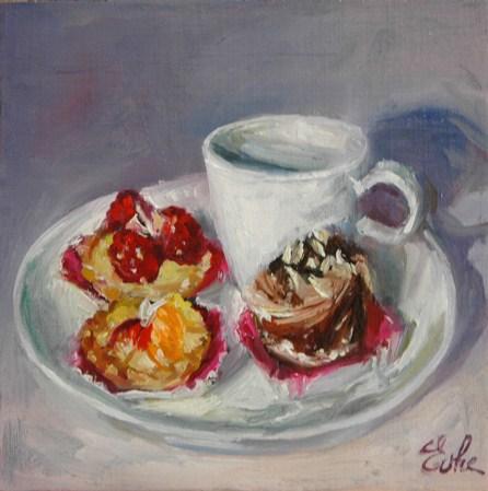 """""""Café gourmand"""" original fine art by Evelyne Heimburger Evhe"""