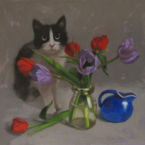 """""""Tux and Tulips floral still life painting with cat"""" original fine art by Diane Hoeptner"""