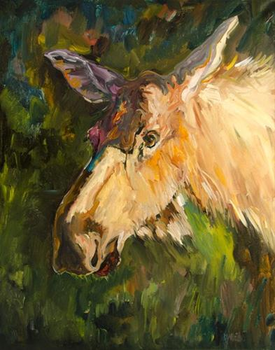 """MOOSE WILDLIFE ANIMAL ART D WHITEHEAD Artoutwest Daily Painting"" original fine art by Diane Whitehead"