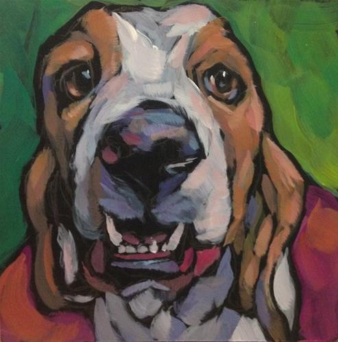 """Summer Basset"" original fine art by Kat Corrigan"
