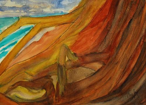 """Beach Roots"" original fine art by Donna Crosby"