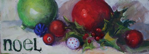 """noel, Christmas Still Life in Oil by AZ Artist Amy Whitehouse"" original fine art by Amy Whitehouse"