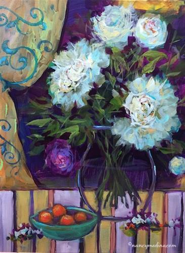"""Butterfly Aperitif White Peonies - Nancy Medina Art Videos and Classes"" original fine art by Nancy Medina"