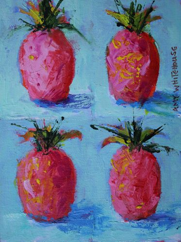 """""""Pink Pineapples say Hospitality, Contemporary Acrylic Still Life"""" original fine art by Amy Whitehouse"""