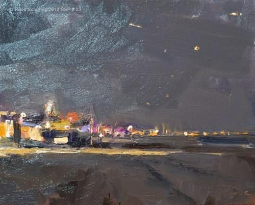"""Seascape spring # 23 Beachlights at night"" original fine art by Roos Schuring"
