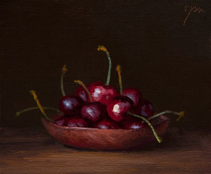 """""""Cherries on a Copper Plate  (+ The Radical Power of Humility)"""" original fine art by Abbey Ryan"""