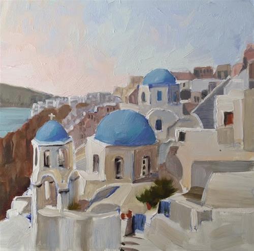 """Santorini"" original fine art by Deborah Newman"
