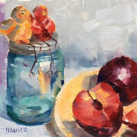 """Plum Happy"" original fine art by Alice Hauser"