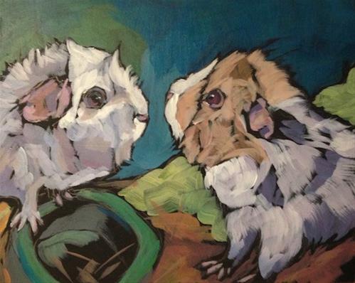 """Poppy and Nugget"" original fine art by Kat Corrigan"