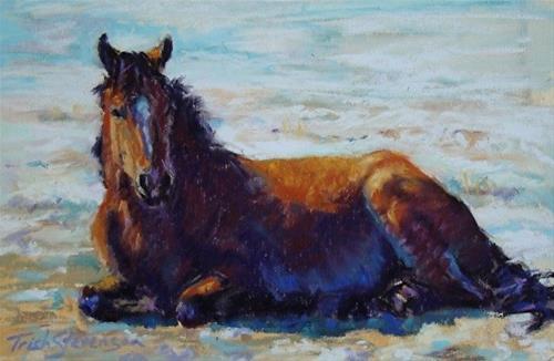 """Bay Nap in Winter Sun"" original fine art by Trish Stevenson"
