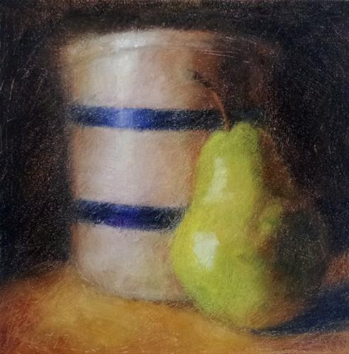 """""""Pear and Crock"""" original fine art by Cindy Haase"""