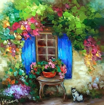"""""""Waiting for the Dinner Bell - Romantic French Kitty - Paintings by Nancy Medina"""" original fine art by Nancy Medina"""