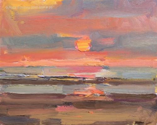 """Seascape spring # 20 Sunset II - zonsondergang"" original fine art by Roos Schuring"