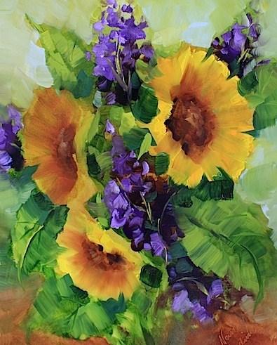 """Garden Gala Sunflowers by Texas Artist Nancy Medina"" original fine art by Nancy Medina"