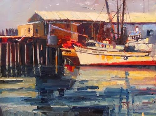 """""""The Golden Dolphin  Port Angeles, plein air, marinescape oil painting by Robin Weiss"""" original fine art by Robin Weiss"""