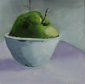 """APPLE IN BOWL"" original fine art by Linda Popple"