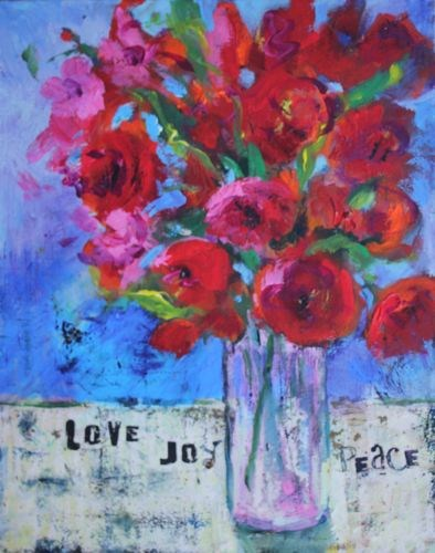 """Love Joy Peace Mixed Media Painting"" original fine art by Amy Whitehouse"