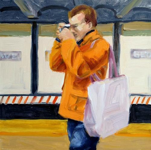 """""""Orange Coat"""" original fine art by Deborah Newman"""
