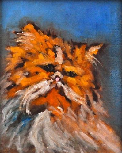 """""""Orange Persian Cat- Charity Auction"""" original fine art by Kevin Inman"""
