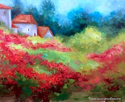 """Tuscan Skies Poppy Field - Flower Paintings by Nancy Medina"" original fine art by Nancy Medina"