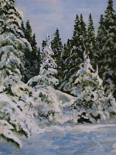 """Snow Trees"" original fine art by Nan Johnson"