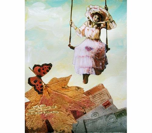 """Victorian Woman mixed media original - It was a cool morning"" original fine art by Linda Apple"