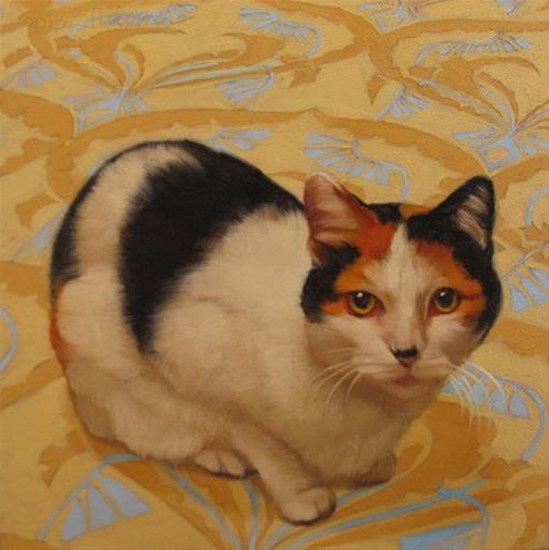 """""""Punim pet cat portrait painting commission"""" original fine art by Diane Hoeptner"""