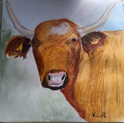 """Painting #4 The Cow"" original fine art by Kimberly Balentine"
