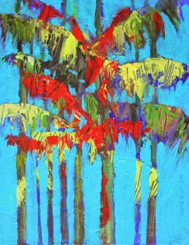 """""""Holiday Palms, Contemporary Landscape Paintings by Arizona Artist Amy Whitehouse"""" original fine art by Amy Whitehouse"""