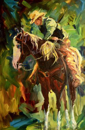 """COWBOY WESTERN EQUINE RANCH ARTOUTWEST D WHITEHEAD DAILY PAINTING"" original fine art by Diane Whitehead"