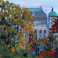 """Parliament through the Garden"" original fine art by Darlene Young"
