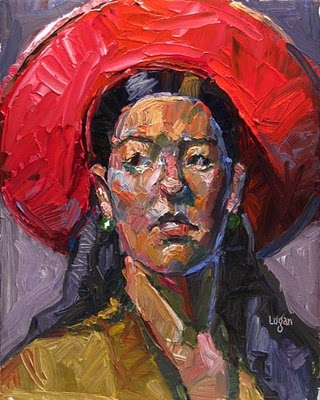 """The Red Hat"" original fine art by Raymond Logan"