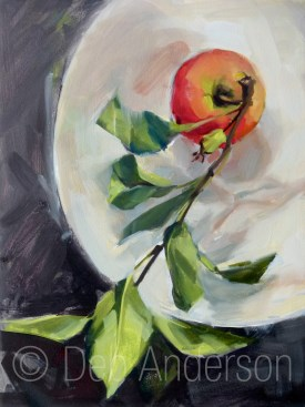 """""""Oil Painting: Apple, Branch and Leaves"""" original fine art by Deb Anderson"""