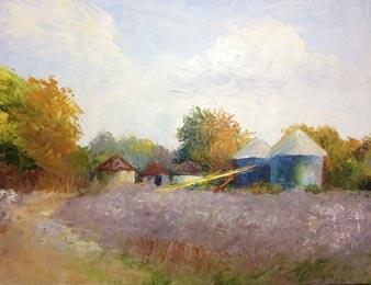 """""""Grain Bins"""" original fine art by Carol Roark"""