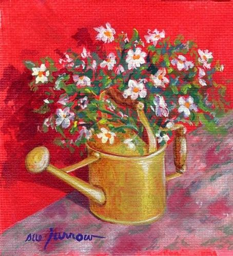 """""""Day 30 of Leslie Saeta's Challenge  Yellow Can"""" original fine art by Sue Furrow"""