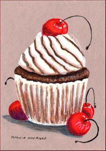 """Chocolate Cherry Cupcake"" original fine art by Patricia Ann Rizzo"