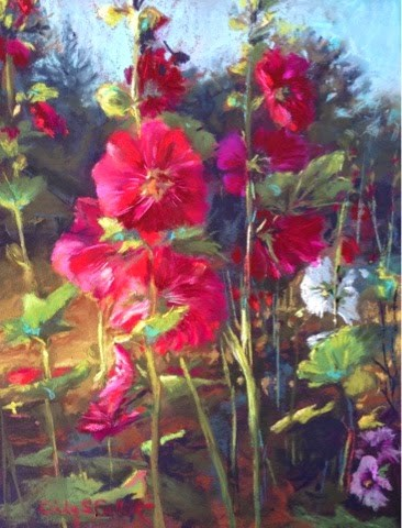 """Early Morning Hollyhocks"" original fine art by Cindy Gillett"