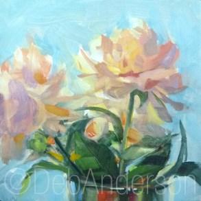 """Oil Painting: Backlit Peonies"" original fine art by Deb Anderson"