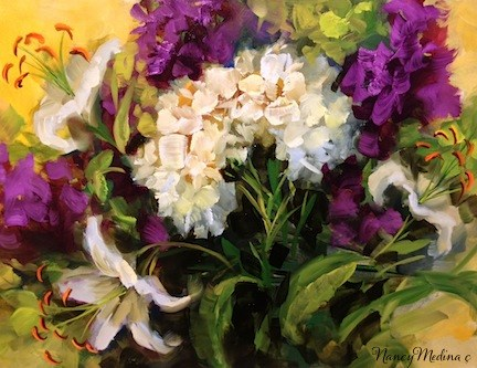 """""""Surrounded by Love White Lilies and a Ft. Lauderdale Workshop by Texas Flower Artist Nancy Medina"""" original fine art by Nancy Medina"""