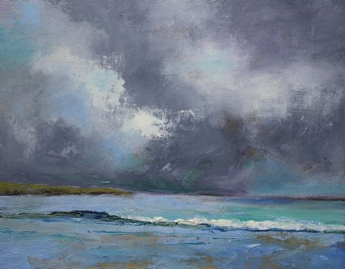"""Thunderstorm, Beach and Ocean Paintings by Arizona Artist Amy Whitehouse"" original fine art by Amy Whitehouse"