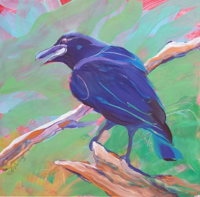 """Crow in the Tree 2"" original fine art by Pam Van Londen"