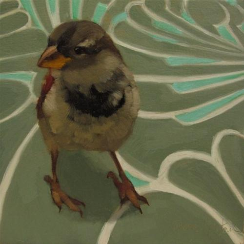 """""""Sparrow on Swirl small original oil painting"""" original fine art by Diane Hoeptner"""