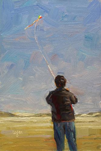 """Kite Over Oso Flaco Dunes"" original fine art by Raymond Logan"