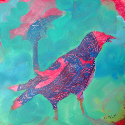 """Crow Upcycled 5"" original fine art by Pam Van Londen"