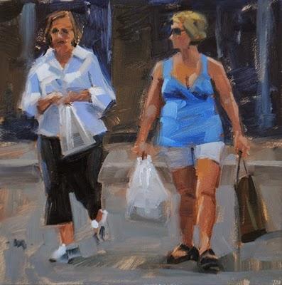 """What'd You Buy?"" original fine art by Carol Marine"