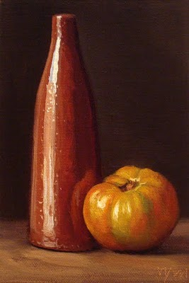 """""""Still Life with Tomato and Tall Bottle"""" original fine art by Abbey Ryan"""