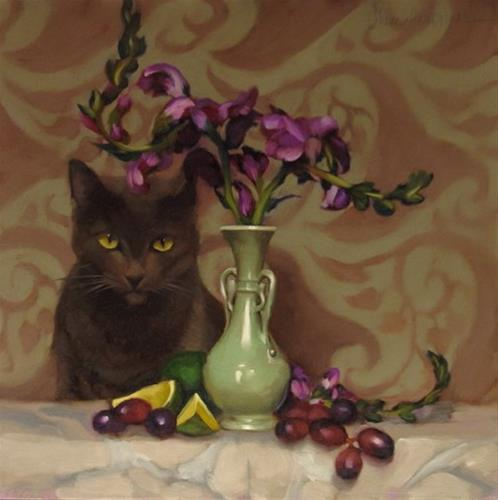 """Hey, add a cat to that floral still life painting!"" original fine art by Diane Hoeptner"