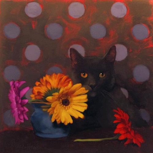"""Coco and Daisies floral still life with cat painting"" original fine art by Diane Hoeptner"